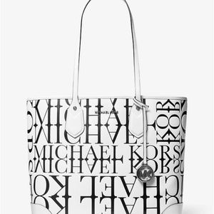 Eva Large Newsprint Logo Leather Tote Bag